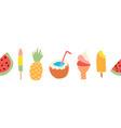 summer treats seamless border repeating vector image