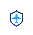 travel insurance icon with shield and airplane vector image vector image