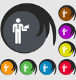Waiter icon sign Symbols on eight colored buttons vector image vector image