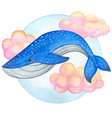 watercolor blue whale swimming on pink clouds vector image
