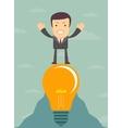 young cartoon businessman on light bulb vector image vector image