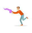 young man in casual clothes dancing traditional vector image vector image