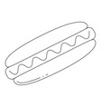 black and white hotdog fast food icon poster vector image