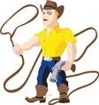Cowboy with lasso and revolver vector image