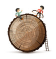log with people wood symbol isolated on white vector image
