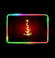 3d gold xmas tree ribbon colorful neon sign frame vector image