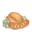 A Plate of Delicious Roast Turkey with Cornbread vector image
