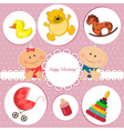 baby birthday card vector image vector image