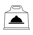 box with platter symbol food delivery icon image vector image vector image
