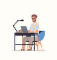 businessman using laptop business man sitting at vector image