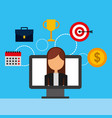 businesswoman in monitor with set icons vector image vector image