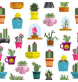cartoon cactuses and succulents seamless pattern vector image