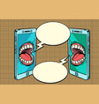 chat communication by phone concept vector image