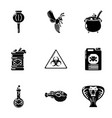 chemical poison icons set simple style vector image