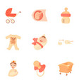 childhood icons set cartoon style vector image