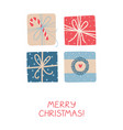 christmas greeting card with colorful gifts on vector image