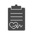 clipboard report healthy heartbeat silhouette icon vector image vector image