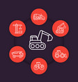 construction vehicles line icons set vector image vector image