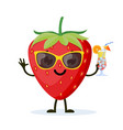 cute and funny strawberry character vector image vector image