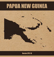 detailed map of papua new on of craft paper vector image