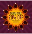diwali sale background with beautiful diya vector image vector image