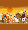 farm in nature scene with barn and animal farm on vector image vector image
