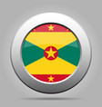 flag of grenada shiny metal gray round button vector image vector image