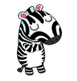 funny cartoon zebras on white background vector image