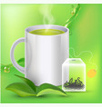 green tea banner ads with tea leaves green vector image