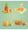 Healthy Food And Drinks Cartoon Set vector image