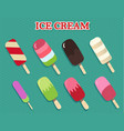 ice cream collection beautiful colorful set vector image