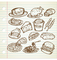 Junk Food Doodles vector image
