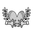 line hands with heart and branches with leaves vector image vector image