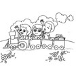 little boy and friend driving a toy train vector image vector image
