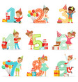 little children birthday celebration set with vector image