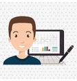 man with pc isolated icon design vector image