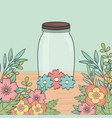 mason jar flowers decoration on wooden table vector image
