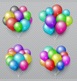 multicolor realistic balloon bunches isolated vector image