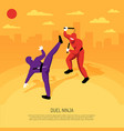 ninja duel isometric composition vector image