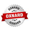 Oxnard round silver badge with red ribbon vector image vector image