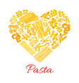 pasta and italian macaroni heart poster vector image vector image