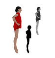 realistic flat colored of a jumping woman in vector image