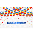 romania garland flag with confetti on transparent vector image vector image