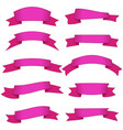 set of ten pink ribbons and banners for web design vector image