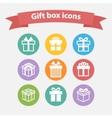 set white gift box iconsshapesign vector image vector image