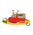 sneaker Santa Claus fur and deer vector image