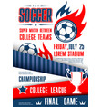 soccer or football sport tournament match poster vector image vector image