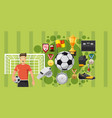 soccer play banner horizontal cartoon style vector image vector image