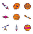 space icon set hand drawn style vector image