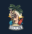 summer on beach surfers hands plant vector image vector image